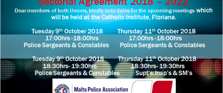 Malta Police Force Sectoral Agreement 2018 – 2023 – Meetings